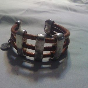 Coolskin leather and silver plated bracelet